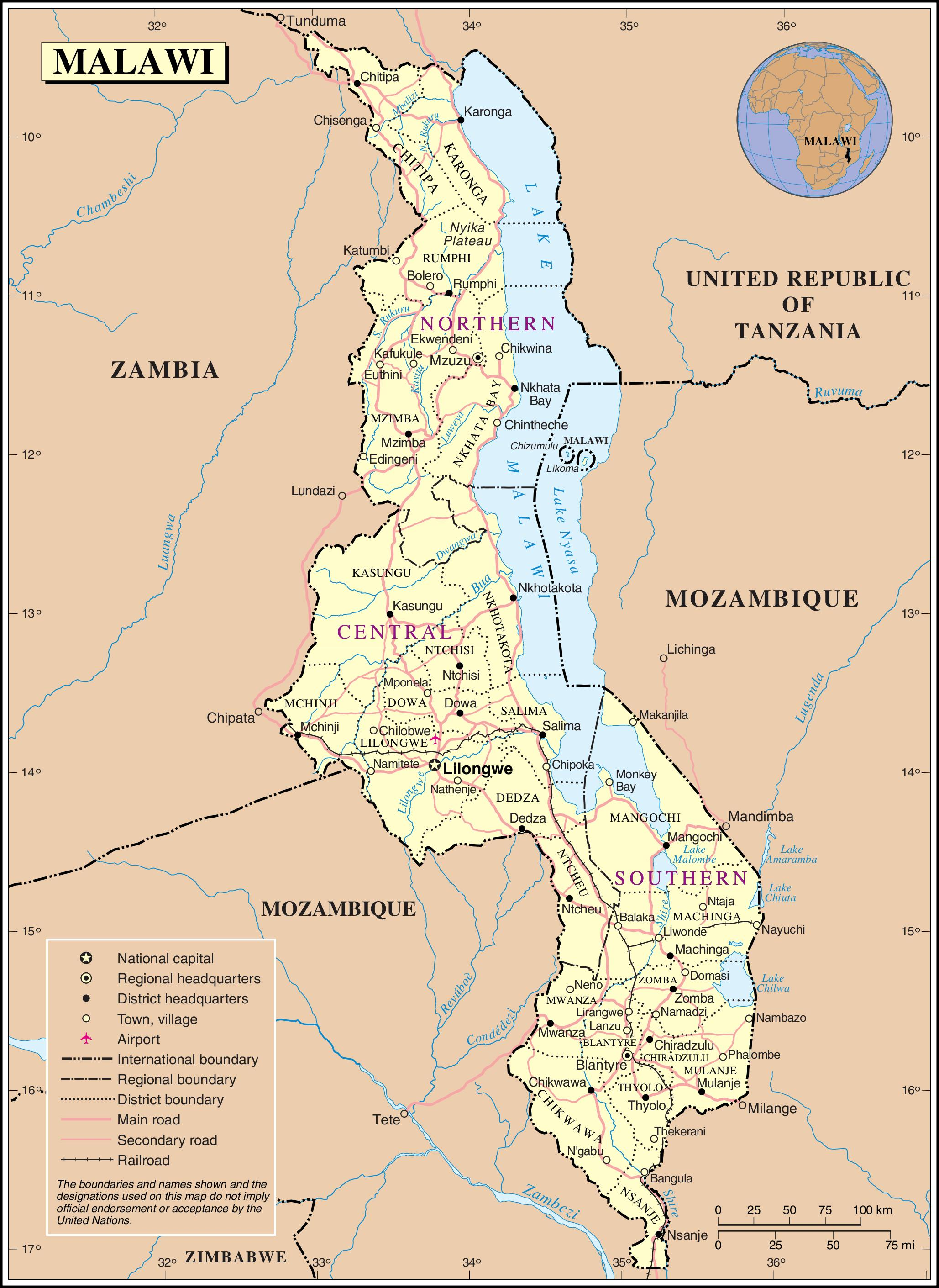 Malawi On Africa Map.Malawi Road Map Map Of Malawi Showing Roads Eastern Africa Africa