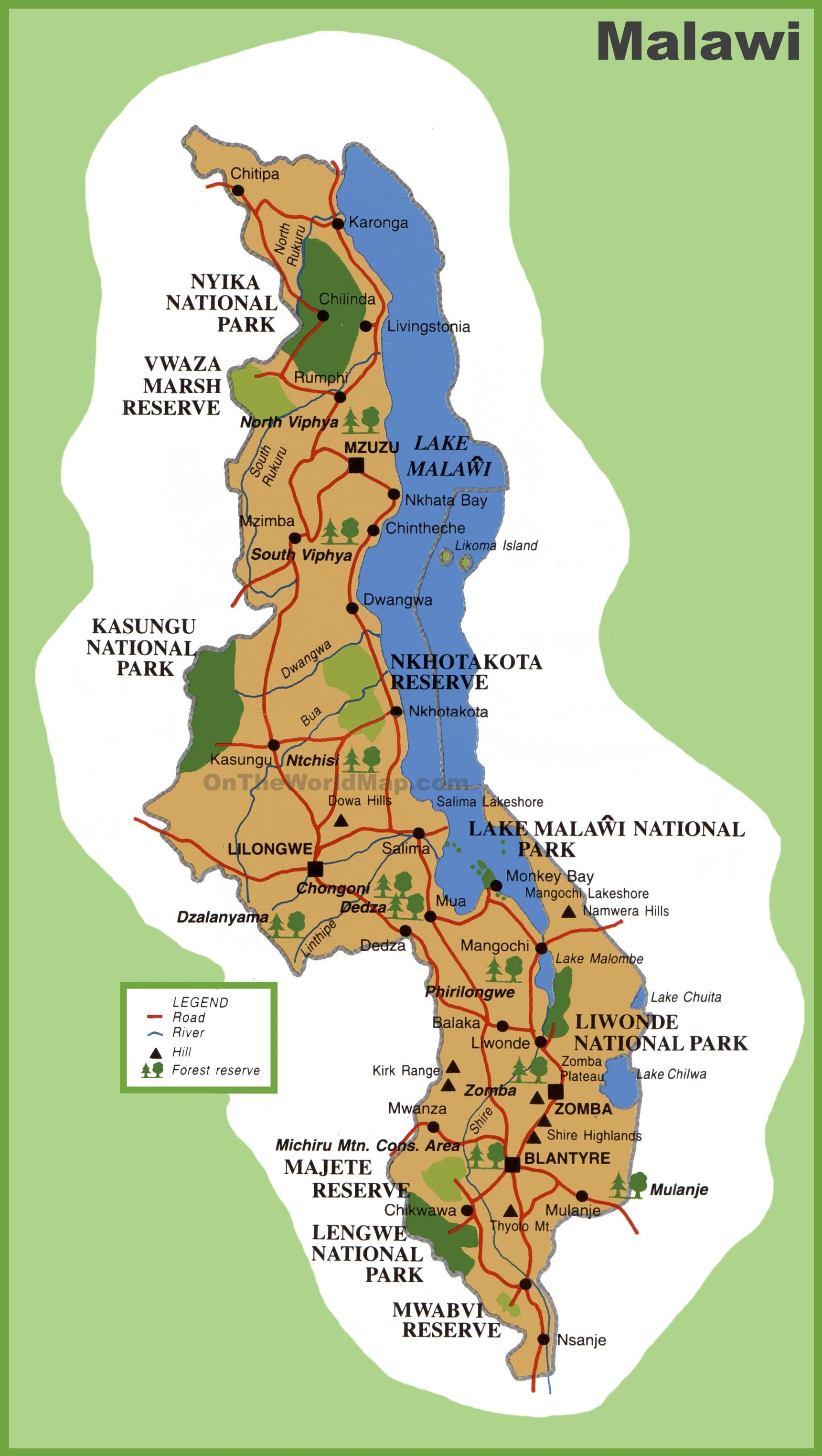 Map Of Africa And Surrounding Countries.Map Of Malawi Map Of Malawi And Surrounding Countries Eastern