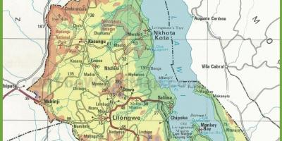 Map of physical map of Malawi